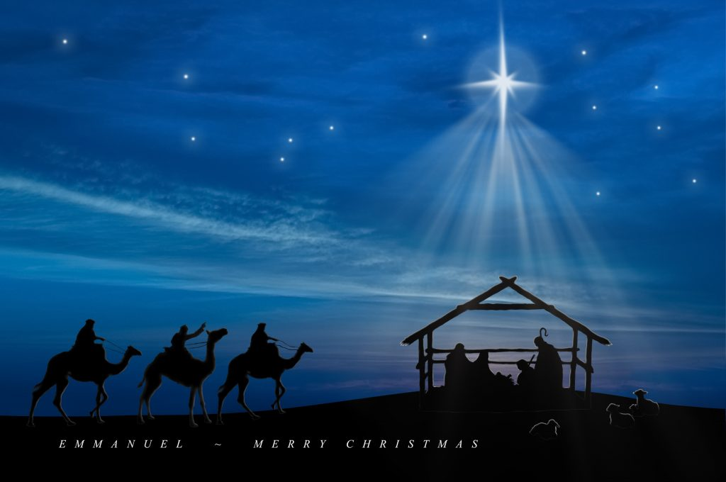 Baby Jesus in the manger with Joseph, Mary, shepherds and three wise men